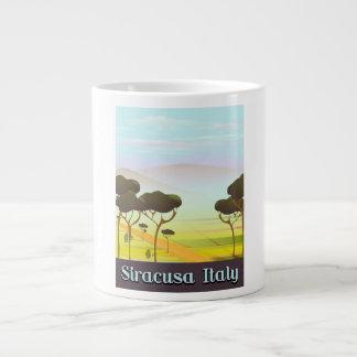Caneca De Café Grande Cartaz do viagem da paisagem de Siracusa Italia
