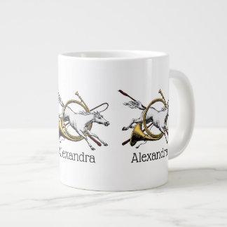 Caneca De Café Grande Cavalo equestre formal que salta com a cor do