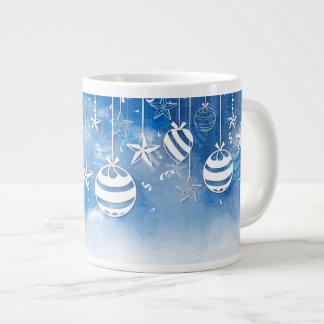 Caneca De Café Grande Christmas ornaments blue