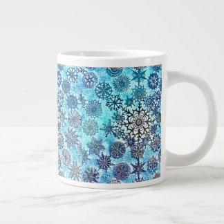Caneca De Café Grande Copo dos flocos de neve dos azuis bebés de Lillian