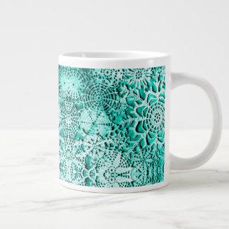 Caneca De Café Grande Copo verde da porcelana do floco de neve de