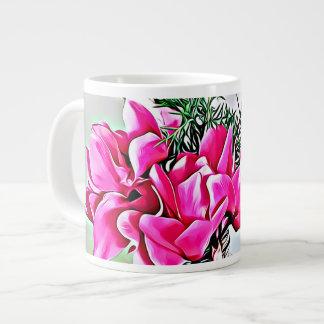 Caneca De Café Grande Cyclamen cor-de-rosa, floral, copo da porcelana de