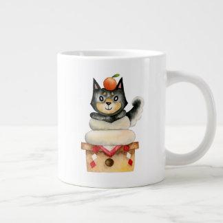 """Caneca De Café Grande De """"ilustração da aguarela do cão Mochi Shiba"""""""
