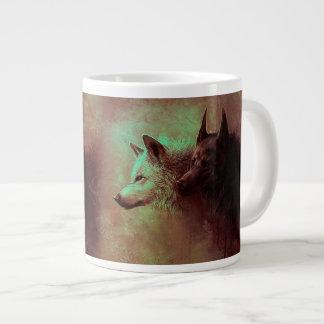 Caneca De Café Grande dois lobos - lobo da pintura