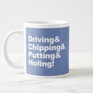 Caneca De Café Grande Driving&Chipping&Putting&Holing (branco)