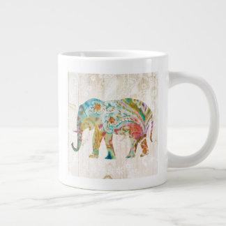 Caneca De Café Grande Elefante de Boho Paisley II