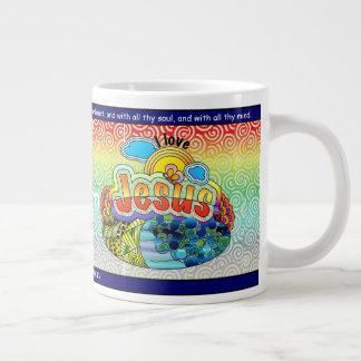 Caneca De Café Grande Eu amo o copo de café enorme de Jesus