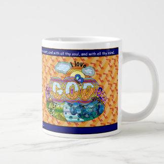 Caneca De Café Grande Eu amo o deus
