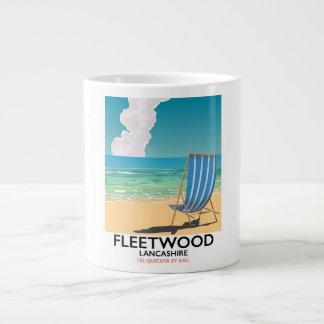 Caneca De Café Grande Fleetwood, poster de viagens do beira-mar de