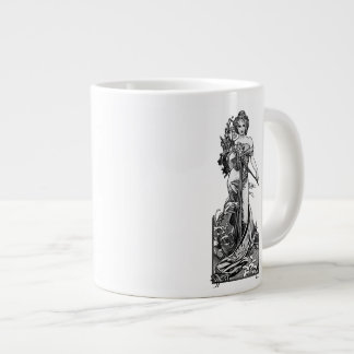 Caneca De Café Grande Flores quebradas Mucha de Alphonse