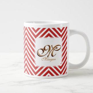 Caneca De Café Grande Inicial & nome do monograma em ziguezagues