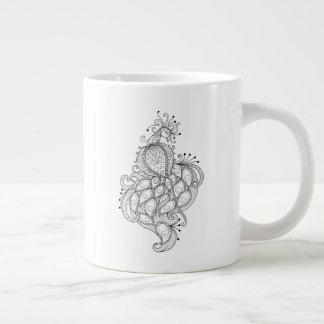 Caneca De Café Grande Linhas abstratas design de pavão bonito