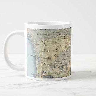 Caneca De Café Grande Mapa do golfo de Nápoles e de arredores