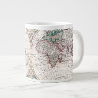 Caneca De Café Grande Mapa do mundo antigo do Dobro-Hemisfério