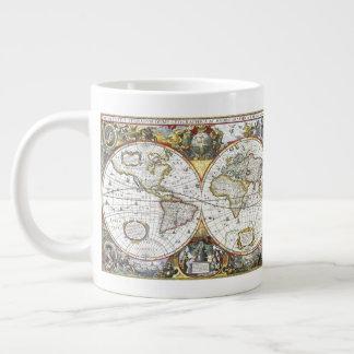 Caneca De Café Grande Mapa do mundo antigo por Hendrik Hondius, 1630