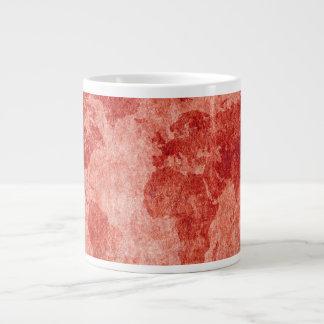 Caneca De Café Grande Mapa do mundo no vermelho