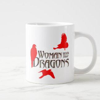 Caneca De Café Grande Mulher com seus dragões