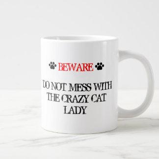 Caneca De Café Grande Não suje com a senhora louca do gato