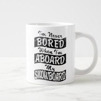 Caneca De Café Grande Nunca furado A BORDO de meu SNOWBOARD (preto)