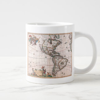 Caneca De Café Grande O mapa de Visscher do mundo novo