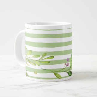 Caneca De Café Grande O verde corajoso da arte da aguarela listra o
