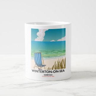 Caneca De Café Grande Poster de viagens da praia de Norfolk do