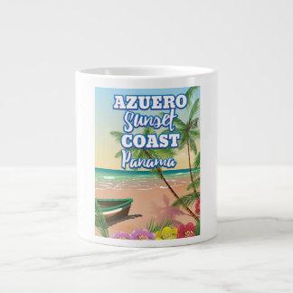 Caneca De Café Grande Poster de viagens da praia de Panamá da costa do