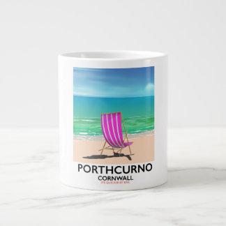 Caneca De Café Grande Poster de viagens da praia de Porthcurno Cornualha