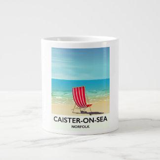 Caneca De Café Grande Poster de viagens do beira-mar do Caister-em-Mar