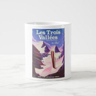Caneca De Café Grande Poster de viagens do esqui de Les Trois Vallées