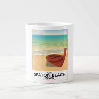 Caneca De Café Grande Poster do beira-mar do vintage de Devon da praia