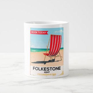 Caneca De Café Grande Poster do beira-mar do vintage de Folkestone Kent
