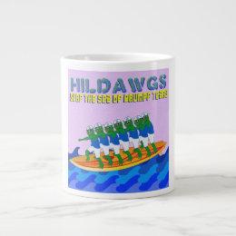 Caneca De Café Grande Surf de Hilldawgs o mar de rasgos de Drumpf