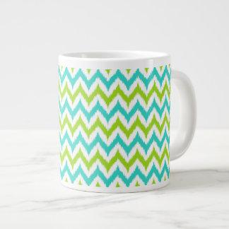 Caneca De Café Grande Teste padrão branco, verde e de turquesa do
