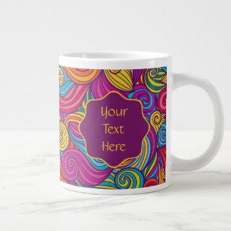 Caneca De Café Grande Teste padrão de onda colorido retro de Swirly do