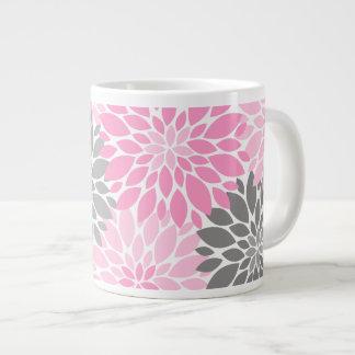 Caneca De Café Grande Teste padrão floral dos crisântemos cor-de-rosa e