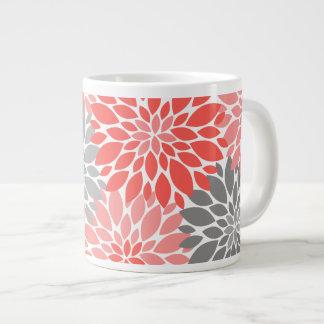 Caneca De Café Grande Teste padrão floral dos crisântemos corais e