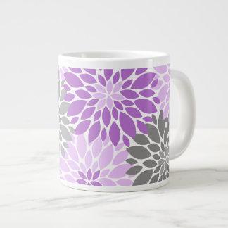 Caneca De Café Grande Teste padrão floral dos crisântemos roxos e