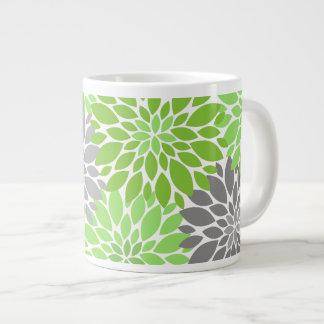 Caneca De Café Grande Teste padrão floral dos crisântemos verdes e