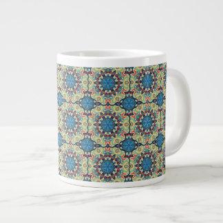 Caneca De Café Grande Teste padrão floral étnico abstrato colorido de da