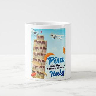 Caneca De Café Grande Torre inclinada da cópia das férias do vintage de