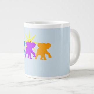 Caneca De Café Grande Três elefantes felizes