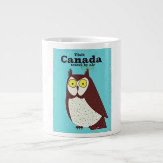 Caneca De Café Grande Visite o poster da coruja de Canadá