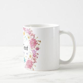 Caneca De Café Grinalda floral copo personalizado do texto