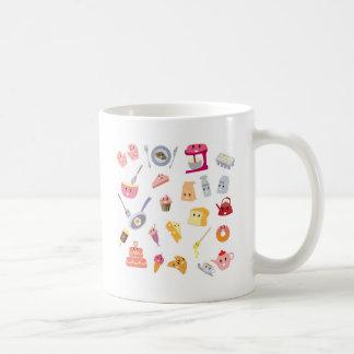 Caneca De Café Grupo bonito do ícone da cozinha da bebida e do
