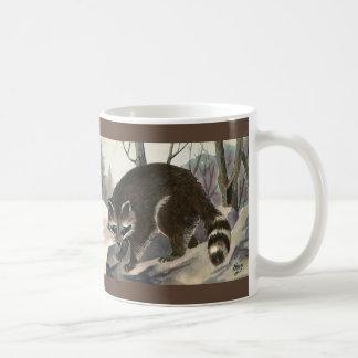 Caneca De Café Guaxinim do vintage, criaturas da floresta do