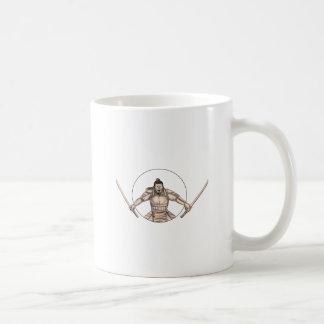 Caneca De Café Guerreiro do samurai que Wielding o tatuagem de
