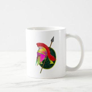 Caneca De Café Guerreiro espartano colorido