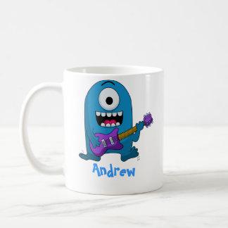 Caneca De Café Guitarrista azul bonito do monstro