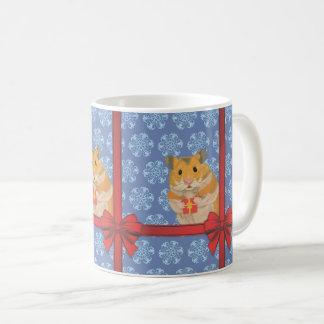 Caneca De Café Hamster do Natal dos flocos de neve